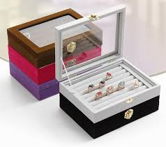small ring jewelry box glass cover ring storage box stud earring earring jewelry box