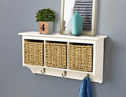 Coat Rack With Storage Baskets Amazon AHDECOR Wall Mount Coat Rack Storage Shelf Cubby 23