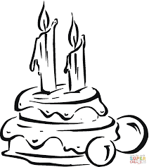 Birthday cake with candles coloring page | Free Printable Coloring ...