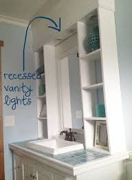 recessed bathroom lighting. way back before i even knew what a blog was we built this vanity hutch and recessed cabinet lighting into the top of it itu0027s one my favorite projects bathroom o