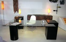 modern glass desk designer desks interior design home decorations square black chair fabric steel lamp living