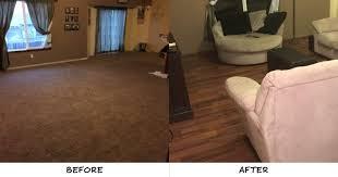 difference new floors can make garrett frederking of wichita ks removed the plain carpet in his family room in favor of our bronzed brazilian teak