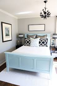 Small Bedroom Wall Colors Small Bedroom Using Black Chandelier Over Blue Bed Frame And Light