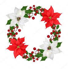 Weihnachtskranz Girlande Blumen Weihnachtsstern Rot Weiß