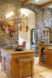 Red Country Kitchen Cabinets Kitchen Country Kitchen With Red Wood Island Also Stone