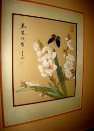 oriental original anese silk watercolor painting signed by artist in calligraphy seal stamped stunning framing