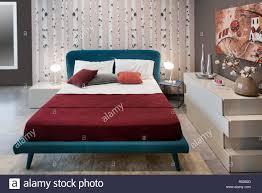 Konzept Der Schlafzimmer Design Mit Vintage Blau Bett Birke Natur