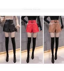 2019 Korean PU <b>Faux Leather</b> Shorts Women <b>Autumn</b> Winter High ...