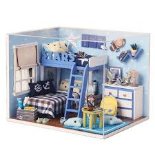 2016 new home decoration crafts diy doll house wooden houses miniature dollhouse furniture kit room led cheap doll houses with furniture