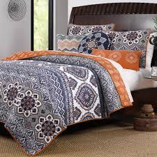 bedroom moroccan vintage medallion grey orange cotton quilt set luxury blue gray and bedding stripe