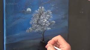 easy lesson tree in moonlight acrylic painting for beginners clive5art