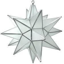 star pendant light frosted glass silver frame moravian brass