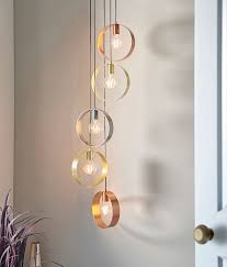5 ring pendant with bare lamp