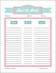 Free Sign Up Sheet Template Printable 30 Images Of Church Volunteer Sign Up Sheet Template
