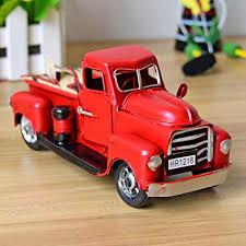 Amazon.com: Gensuns Vintage Red Trucks Handmade Metal Old Car Model ...