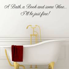 on wall art quote stickers uk with a bath a book and some wine wall quote sticker