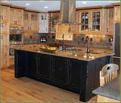 image of distressed kitchen cabinets black