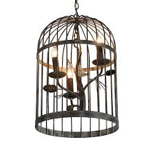 rustic bird and pinecone adorned three light metal hanging birdcage pendant light