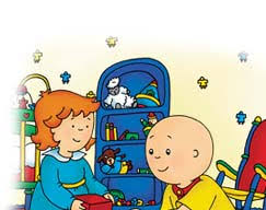 caillou and rosie playing with blocks
