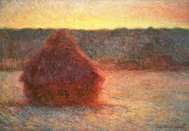 hay painting haystacks at sunset by claude monet