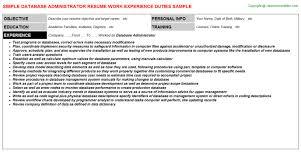 Database Administrator Job Resume Sample