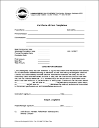 Completion Certificate Sample Certificate Of Final Completion Template Free Certificate Of