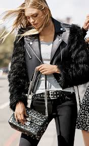 michael michael kors faux fur and leather moto jacket