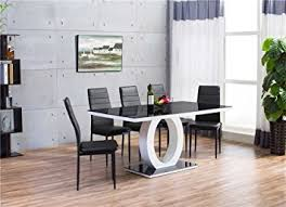 furnitureboxuk giovani black white high gloss gl dining table set 6 leather chairs seats