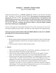 how to critique an essay example best photos of sample journal critique paper   research article  scientific journal format