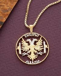 details about albanian eagle pendant necklace 14k rhodium plated 1 1 8 in dia 929