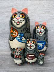 """<b>Матрешка</b> """"<b>Кошка</b> с котенком"""" ручной росписи Udivi 9603203 в ..."""