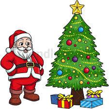 near christmas tree cartoon