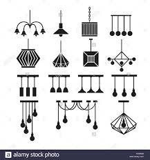 Lampe Vektor Kronleuchter Vektor Dekorieren Icon Set