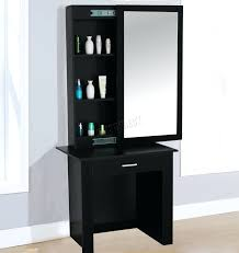 Black Dressing Table Mirror With Drawers And Stool Wood in proportions 2753  X 2925