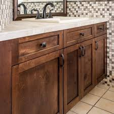 bathroom vanity with new cabinet doors stained with general finishes java gel stain
