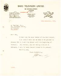 scarce letter from the scottish inventor of television on baird television letterhead