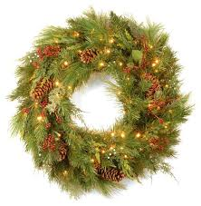 national tree company white pine wreath with led lights wreaths w7