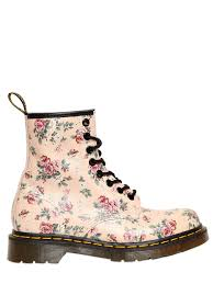 Light Pink Doc Martens 30mm Floral Printed Core Leather Boots