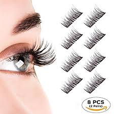 8PCS/4Pairs 3D Double <b>Magnetic</b> False <b>Eyelashes</b> Natural Look ...