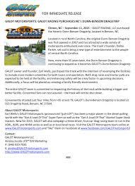 galot motorsports galot racing purchases nc s dunn benson dragstrip