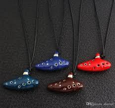 whole legend of zelda ocarina necklace blue green red brown enamel al instruments ocarina shape pendant chains fashion jewelry diamond pendants