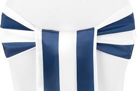 stripe satin chair sash navy blue white
