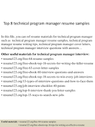 boutique s resume top technical program manager resume samples