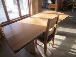 Custom Made Live Edge Slab Dining Table With Curved Maple Base By