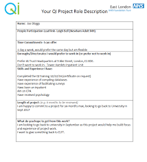 Quality Of Work Example Example Qi Project Role Description For Service Users And Carers