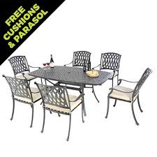 henley garden furniture cushion pads. cast aluminium boat shaped table set with 6 venetian chairs autumn rust seat pads henley garden furniture cushion
