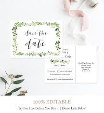 Greenery Save The Date Postcards Wreath Save The Date Cards Wedding Save The Date Template Instant Download Green Personalized Diy L4