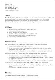 Resume Templates: Hair Salon Receptionist