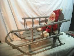 details about vintage wooden sled child s size buckboard seat metal runners dec