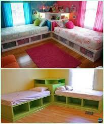 DIY Twin Corner Bed Storage Bed with Corner Unit Instructions-DIY Kids Bunk  Bed Free